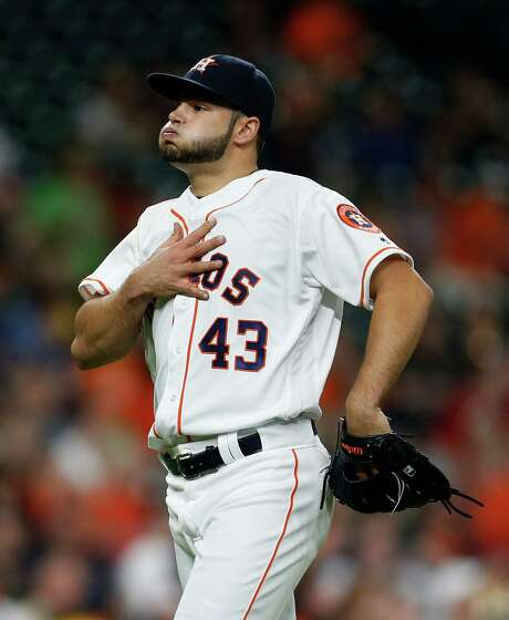 Starter Lance McCullers breathes a sign of relief after left fielder Colby Rasmus caught a drive by the Orioles' Hyun Soo Kim in the fourth inning of the Astros' 4-2 victory Thursday night at Minute Maid Park. Photo: Karen Warren, Staff / © 2016 Houston Chronicle