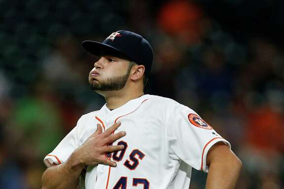 Starter Lance McCullers breathes a sign of relief after left fielder Colby Rasmus caught a drive by the Orioles' Hyun Soo Kim in the fourth inning of the Astros' 4-2 victory Thursday night at Minute Maid Park.
