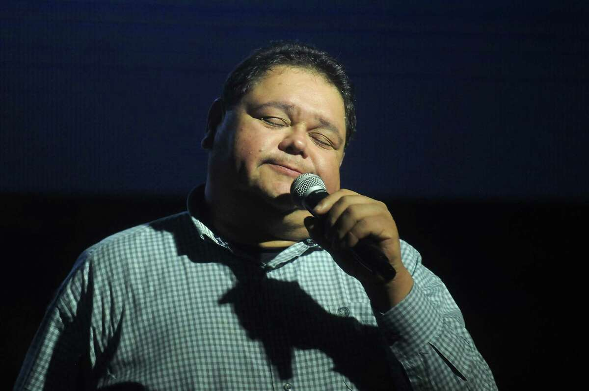 Raulito Navaira thanks the crowd at the vigil.