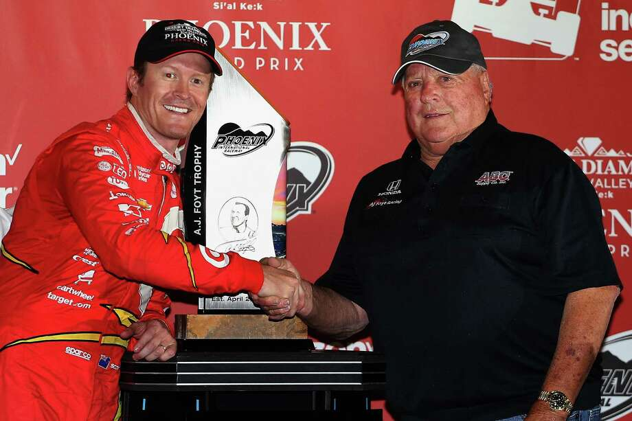 AVONDALE, AZ - APRIL 02:  Scott Dixon of New Zealand, driver of the #9 Target Chip Ganassi Racing Chevrolet IndyCar poses with A. J. Foyt after winning the Phoenix Grand Prix at Phoenix International Raceway on April 2, 2016 in Avondale, Arizona.  (Photo by Christian Petersen/Getty Images) Photo: Christian Petersen, Staff / 2016 Getty Images