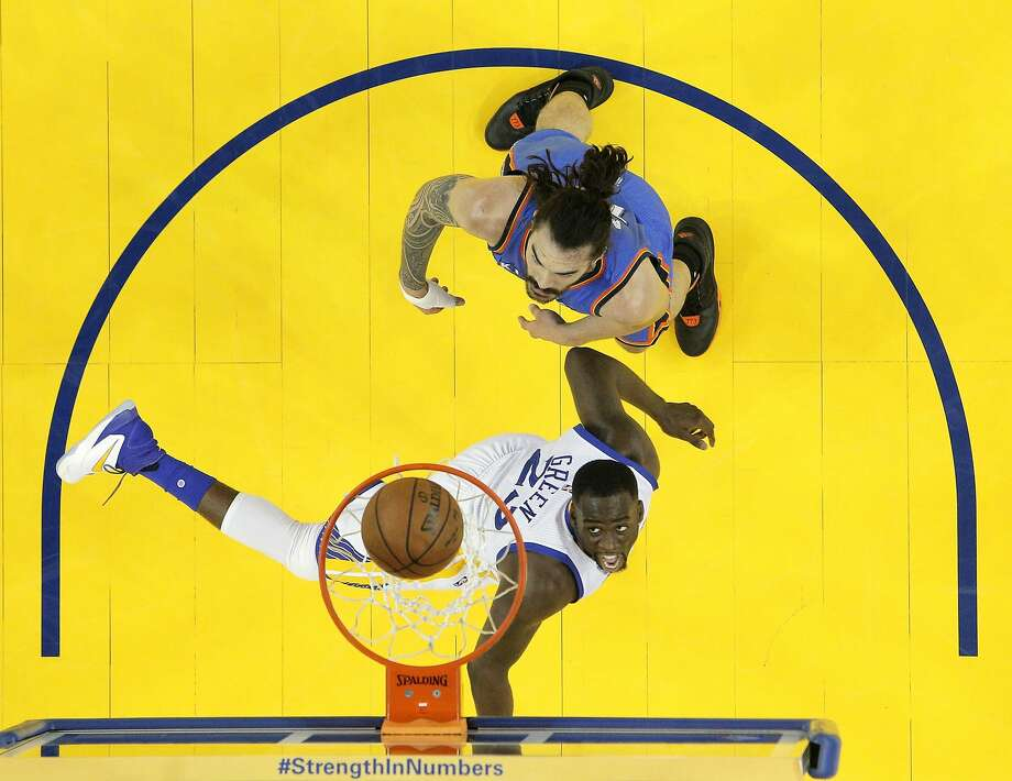 Draymond Green (23) watches his shot go up in the second half as the Golden State Warriors played the Oklahoma City Thunder in Game 5 of the Western Conference Finals at Oracle Arena in Oakland, Calif., on Thursday, May 26, 2016. The Warriors defeated the Thunder 120-111. Photo: Carlos Avila Gonzalez, The Chronicle