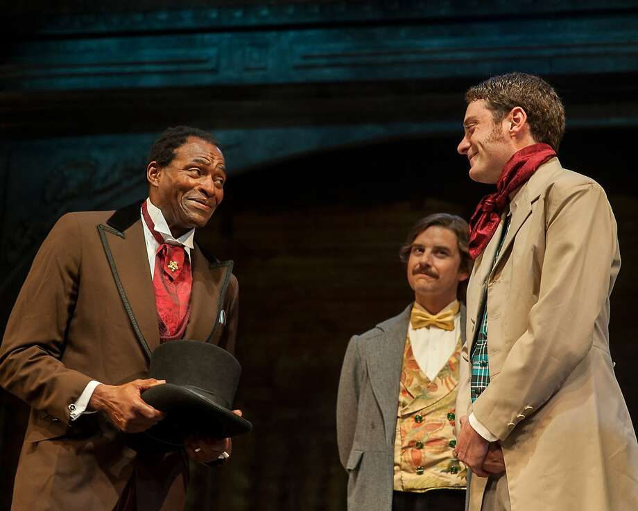 """Ira Aldridge (Carl Lumbly, left), meets Covent Garden theatre company members Pierre LaPorte (Patrick Russell) and Henry Forester (Devin O'Brien) after arriving to play the role of Othello in """"Red Velvet."""" Photo: Ken Levin, CourtesySan Francisco Playhouse"""