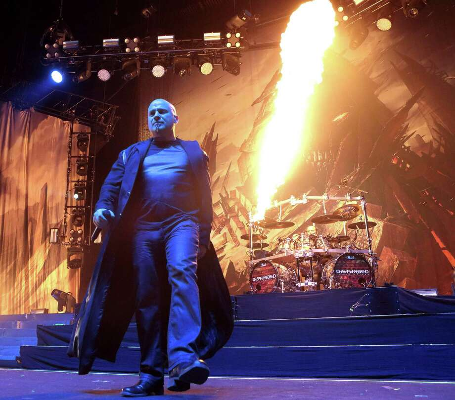 David Draiman of the band Disturbed performs during the MMRBQ at the BB&T Pavilion on Saturday, May 21, 2016, in Camden, N.J. (Photo by Owen Sweeney/Invision/AP) Photo: Owen Sweeney, INVL / Associated Press / Invision