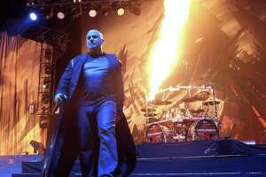 David Draiman of the band Disturbed performs during the MMRBQ at the BB&T Pavilion on Saturday, May 21, 2016, in Camden, N.J. (Photo by Owen Sweeney/Invision/AP)