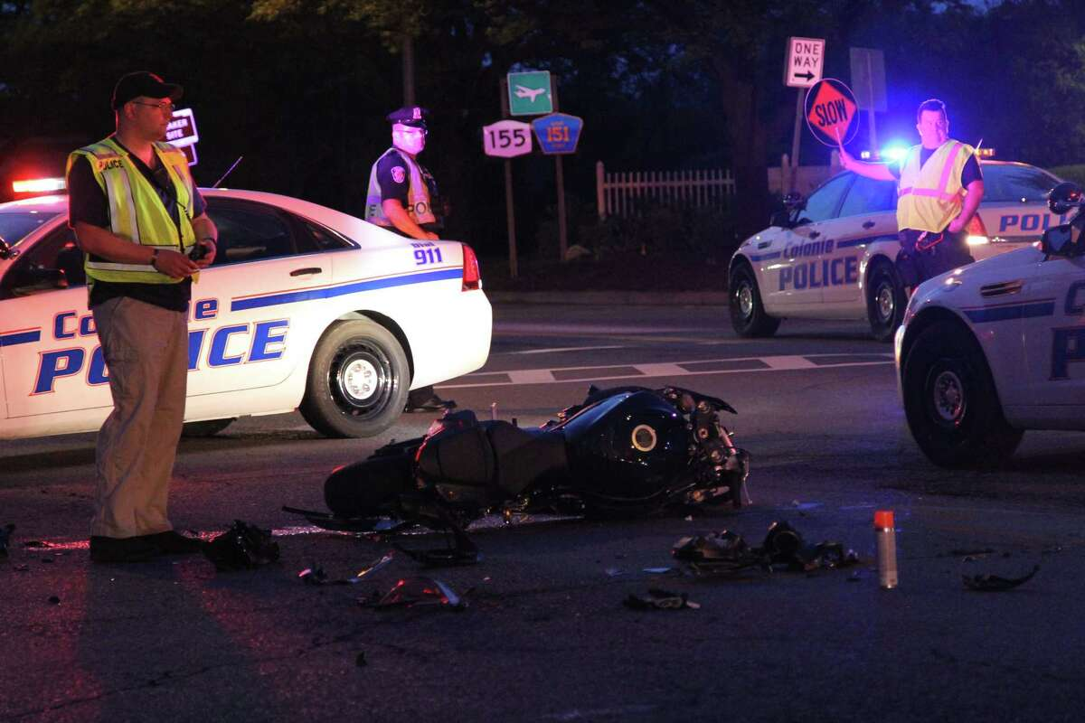 A motorcyclist was killed in a collision with a car around the Northway overpass along Albany Shaker Road on Thursday night, May 26, 2016. (J.p. Lawrence / Times Union)