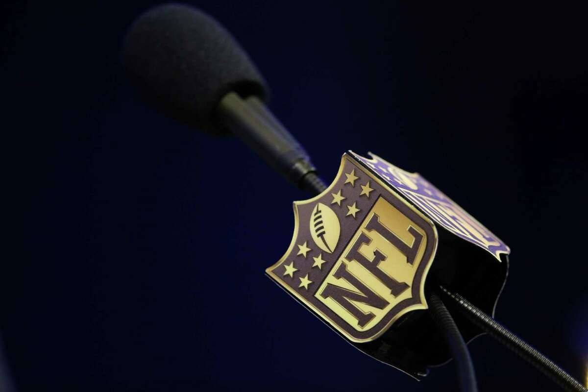 FILE -- The microphone used by NFL Commissioner Roger Goodell during a news conference in San Francisco, Feb. 5, 2016. With an estimated $1 billion at stake, a legal battle between the NFL and its insurers over who will pay claims in the concussions settlement has become front and center for the league and its insurers. (Doug Mills/The New York Times) ORG XMIT: XNYT106