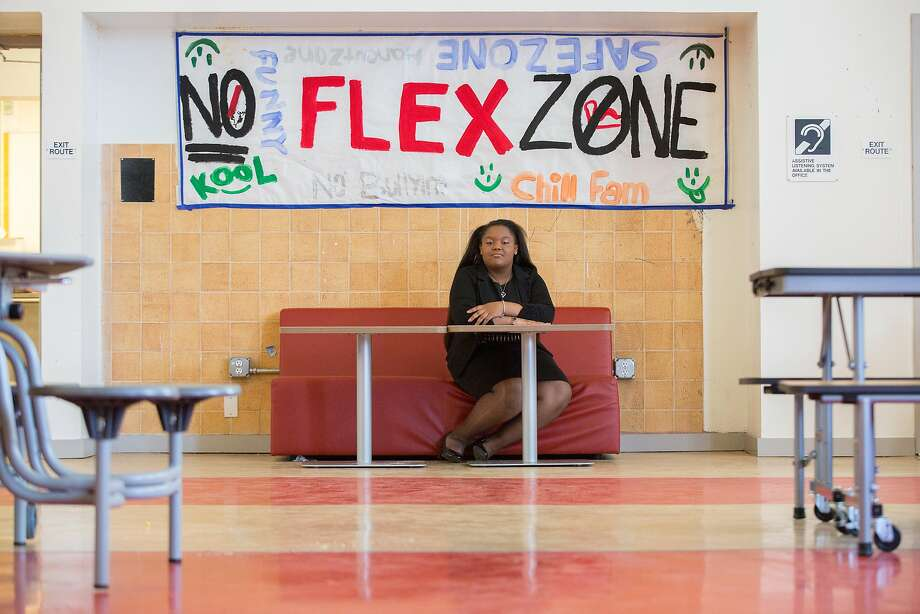 Da'Nille Lemon, an eighth-grader at Dr. Martin Luther King Jr. Middle School, sits in the safe space she helped design. Photo: Santiago Mejia, Special To The Chronicle