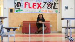 Da'Nille Lemon, age 14, an 8th grade student at Dr. Martin Luther King, Jr. Academic Middle School, poses for a photo on Thursday, May 26, 2016 in San Francisco, Calif. Lemon designated a table in the school cafeteria, The No-Flex Zone, where harassment and bullying are not allowed. She and fellow students enforce the zone. The The Community Board named Lemon the recipient for the Gail Sadalla Rising Peacemaker Award.