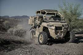 The new Polaris Defense MRZR-D4, a turbo diesel all-terrain vehicle designed for military applications.