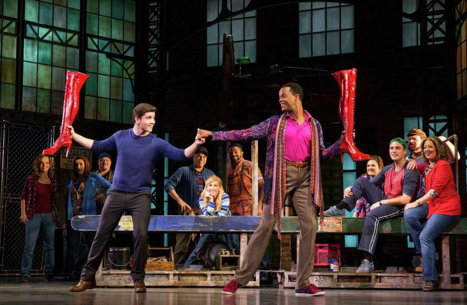 """Adam Kaplan, left, and J. Harrison Ghee play unlikely allies in the musical """"Kinky Boots,"""" on stage at the Shubert Theatre, Wednesday, June 8, through Sunday, June 12. Photo: Matthew Murphy / Contributed Photo"""