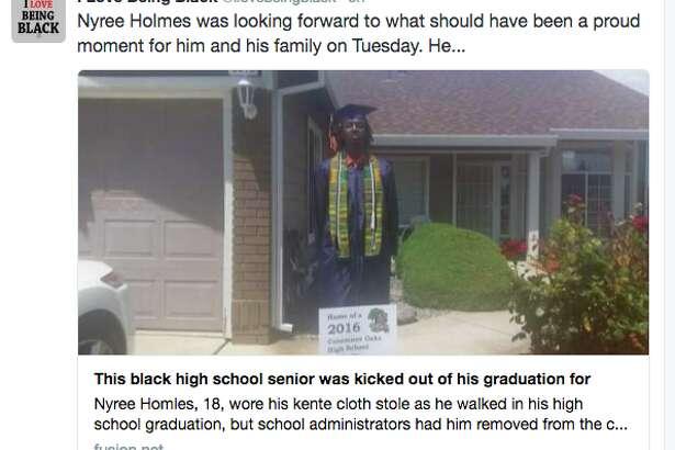 One-time use: Nyree Holmes of Elk Grove wears a Ghanian kente.
