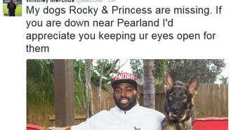 Houston Texans defensive star Whitney Mercilus has taken to social media to get the word out that his two dogs are missing from his Pearland-area home.