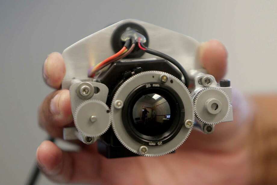 A miniature thermo imaging sensor measures thermal radiance of the face, using the information to extract perspiration signals from the nasal area to measure stress, at the University of Houston Computational Physiology Lab on May 13. The camera is critical to an ongoing test of stress while driving. Photo: Gary Coronado, Houston Chronicle / © 2015 Houston Chronicle