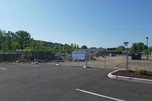 Crews are starting construction on Pershing Drive in Derby of new buildings next to Aldi supermarket that will contain a Popeyes Louisiana Kitchen, a Pet Valu and an AT& store.