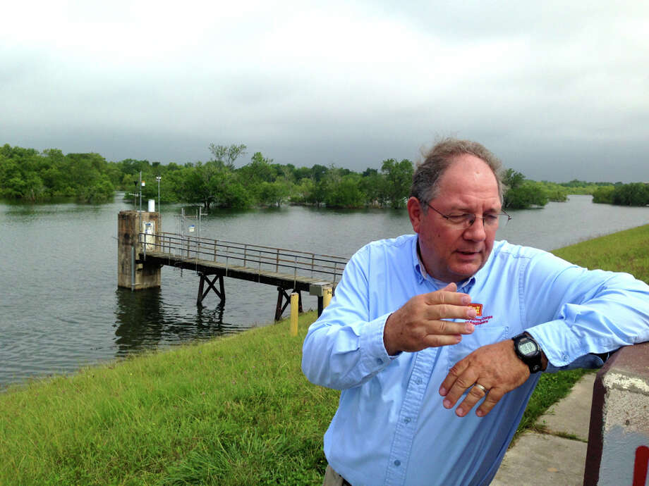 Richard Long, supervisory natural resources manager for the Galveston  District of the U.S. Army Corps of Engineers, standing on Barker Dam, May  17, 2016. Photo: Susan Chadwick