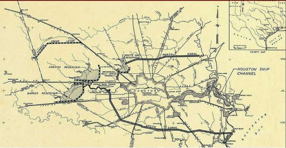 The 1940 flood control plan for dams, levees, and canals in Houston. Photo: U.S. Army Corps Of Engineers