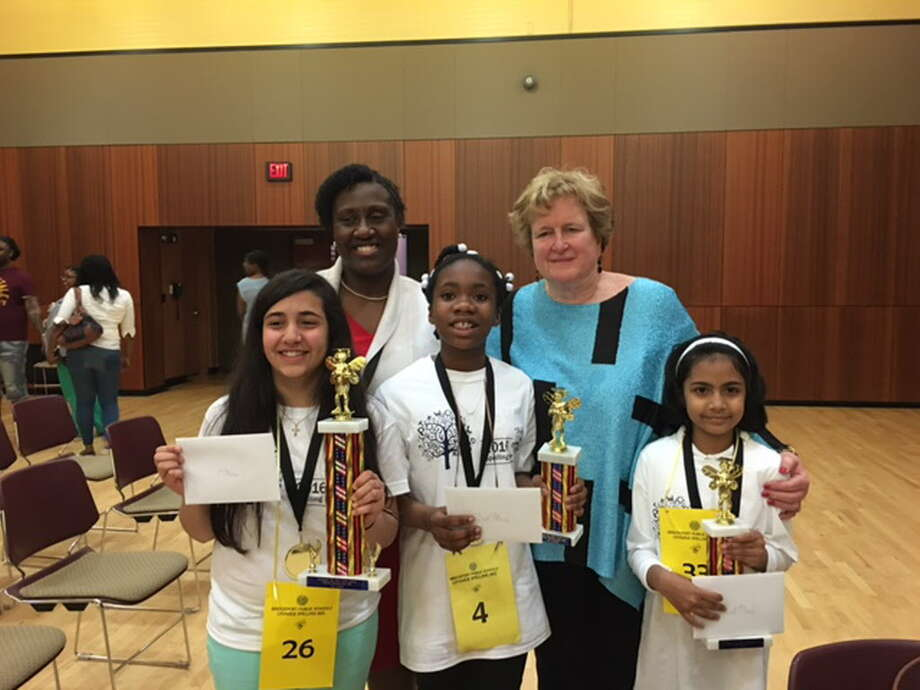Winners of Bridgeport's 2016 districtwide spelling bee contest, along with Melissa Jenkins, director of literacy, and Interm Schools Superintendent Fran Rabinowitz Photo: Contributed / Contributed By Bridgeport Public Schools