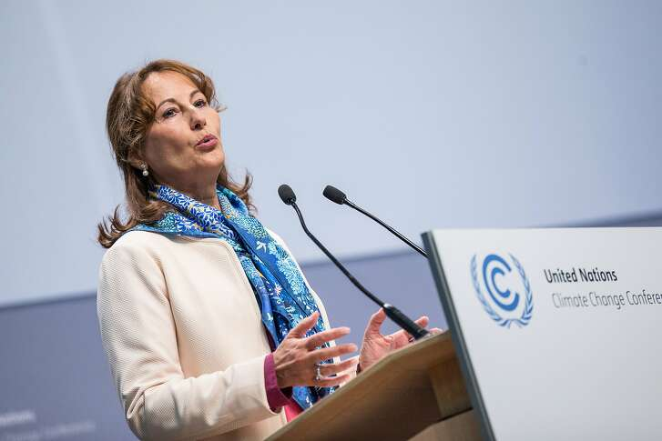 French Minister for the Environment Segolene Royal speaks in the World Conference Center in Bonn, Germany, 16 May 2016 at a  UN�Climate Change Conference. (Maja Hitij/dpa via AP)