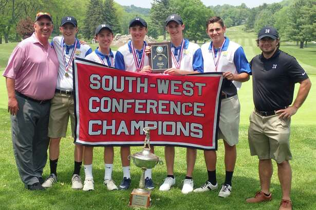 The South-West Conference champion Newtown High School boys golf team at Ridgewood Country Club in Danbury May 27, 2016.