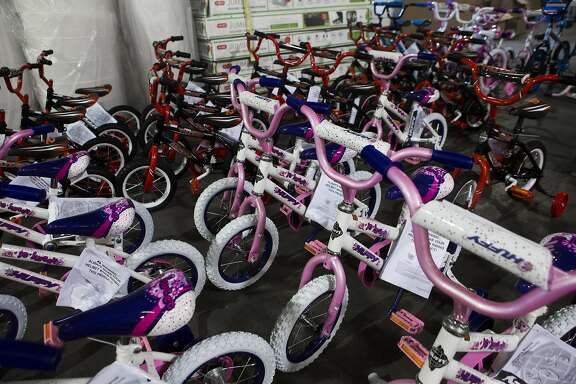 Bicycles for boys and girls are stored in preparation for Christmas. The Salvation Army provides toys for about 20,000 children from low income families in the Houston area. With the help of about 300 volunteers, The Salvation Army will be able to distribute the toys three days before Christmas Day. Wednesday, Dec. 9, 2015, in Houston. ( Marie D. De Jesus / Houston Chronicle )
