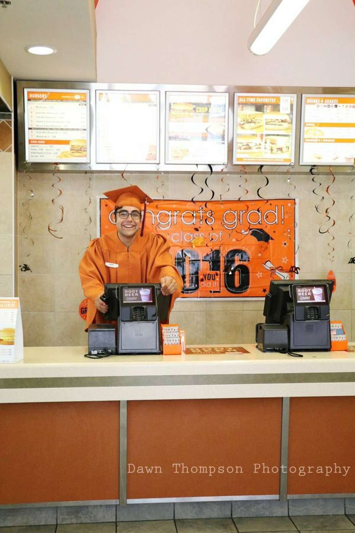 Mario Ramirez Bortolini, a 19-year-old soon-to-be graduate of James Madison High School, took his senior photos at a San Antonio Whataburger on May 21, 2016.