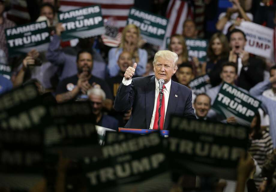 Republican presidential candidate Donald Trump gestures during a rally, Friday, May 27, 2016, in Fresno, Calif. (AP Photo/Chris Carlson) Photo: Chris Carlson, Associated Press