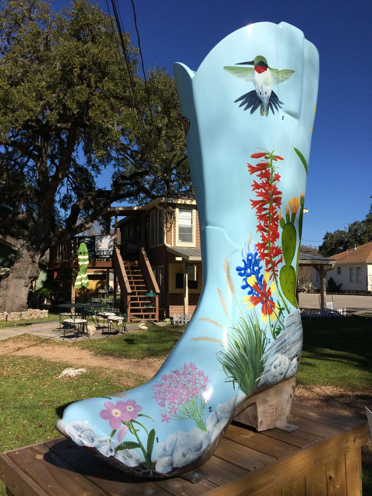 """Welcome to Wimberley, Texas! As part of the Wimberley Valley Arts & Culture Alliance, """"Bootiful Wimberly"""" is a 32-piece collection of Texas footwear, sponsored and painted by local artists, that has been scattered throughout the town."""