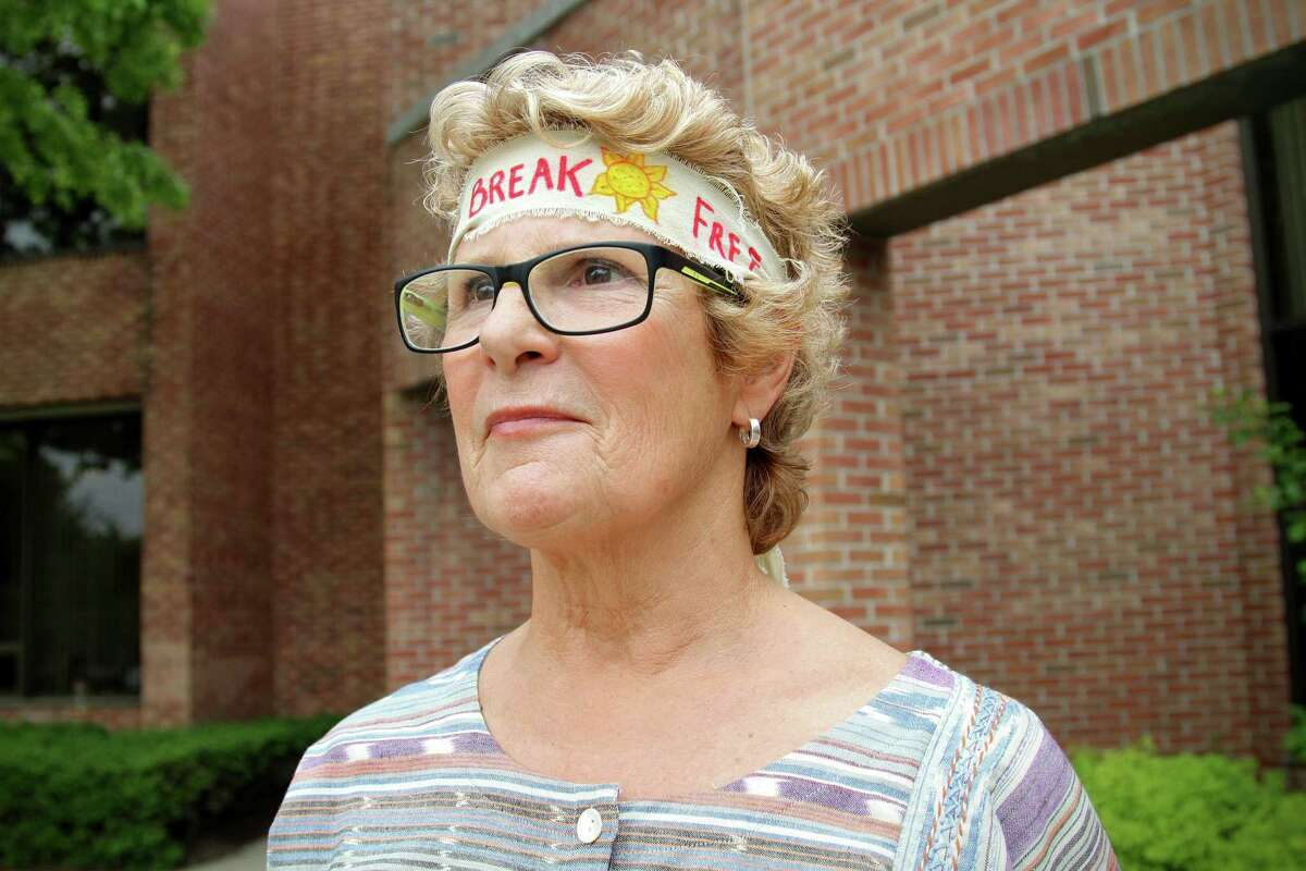 Albany woman Susan Weber was one of 15 supporters at a court appearance May 26, 2016, in Guilderland for five activists arrested for protesting oil trains. (J.p. Lawrence / Times Union).