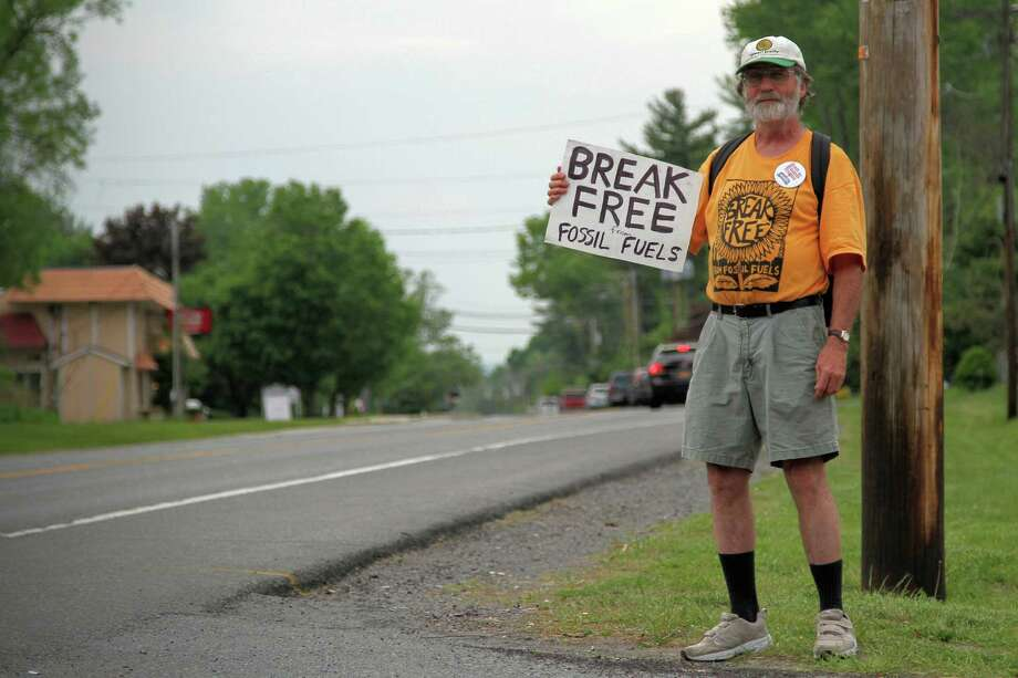 Glenville man Pete Looker was one of 15 supporters at a court appearance May 26, 2016, in Guilderland for five activists arrested for protesting oil trains on May 14. (J.p. Lawrence / Times Union).