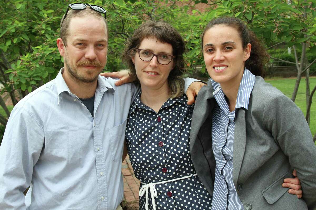 Three activists arrived for their first appearance Thursday May 26, 2016, in Guilderland Town Court after protesting oil trains in a May 14 demonstration. From left to right: Alexander Lundberg, 32, of Minneapolis, Minn., Maeve McBride, 40, of Burlington, Vt., and Marissa Shea, 30, of Lowell Mass. (J.p. Lawrence / Times Union).