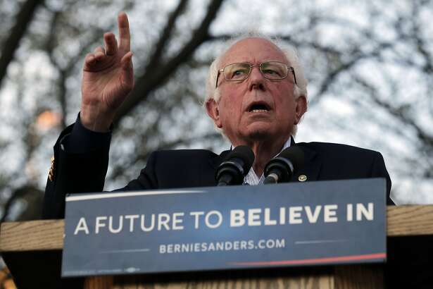 Democratic presidential candidate Sen. Bernie Sanders, I-Vt., during a campaign rally on New Haven Green in New Haven, Conn., Sunday, April 24, 2016. (AP Photo/Charles Krupa)