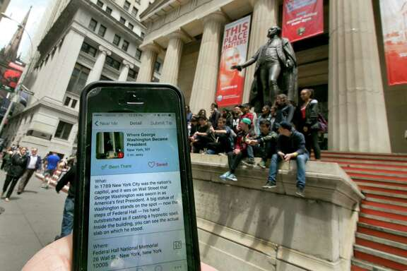The Roadside Presidents app directs people to the statue of George Washington at the Federal Hall National Monument in New York.