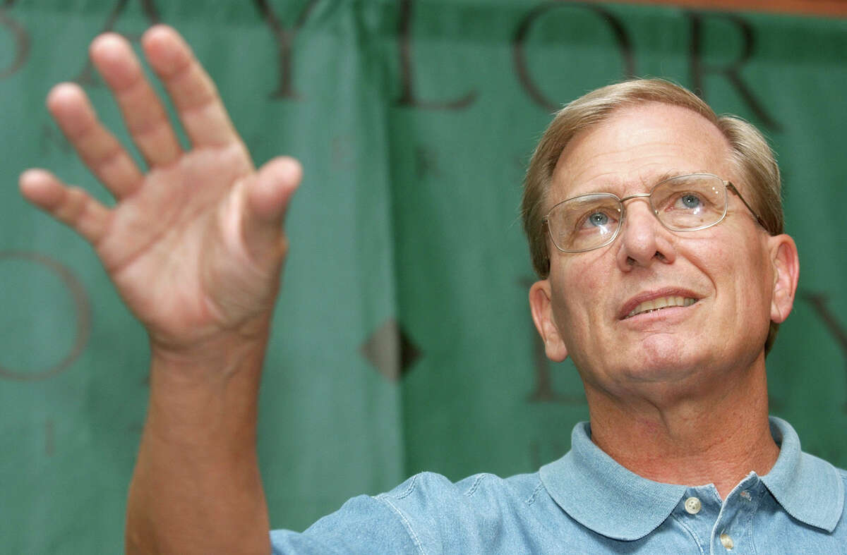Baylor basketball coach Dave Bliss speaks during a news conference Monday, July 28, 2003, in Waco, Texas. Bliss defended his staff's handling of the problems of players Patrick Dennehy and Carlton Dotson. A body found Friday night in a rural area about five miles south of Waco, not too far from gravel pits where authorities searched last week following the arrest of Dotson, was positively identified Sunday as Dennehy. (AP Photo/Waco Tribune-Herald, Duane A. Laverty) HOUCHRON CAPTION (08/03/2003): Bliss.