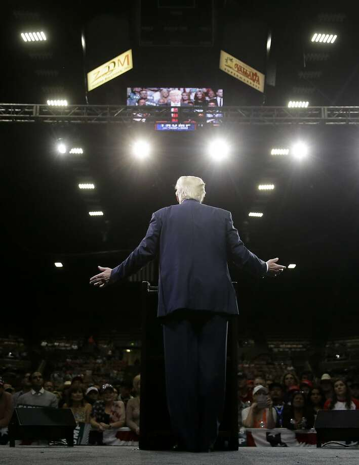 Donald Trump speaks at a campaign event in Fresno, where he fired up the crowd despite offering no policy proposals. Photo: Chris Carlson, Associated Press
