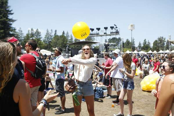 Maggi Kepler plays a game of keep it up with friends before The Score performance at the Bottle Rock 2016 festival in Napa, Calif. on May 27, 2016.