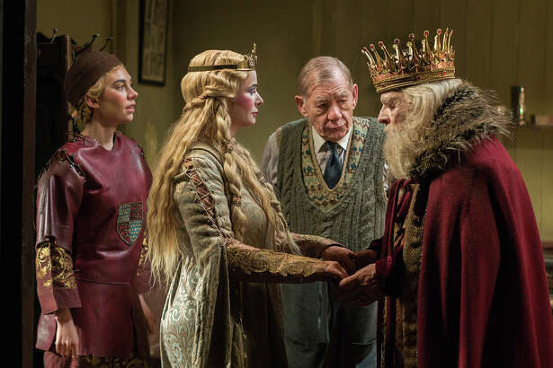 "Irene (Vanessa Kirby), Her Ladyship (Emily Watson), Norman (Ian McKellen) and Sir (Anthony Hopkins) are in the middle of high drama backstage in ""The Dresser."""