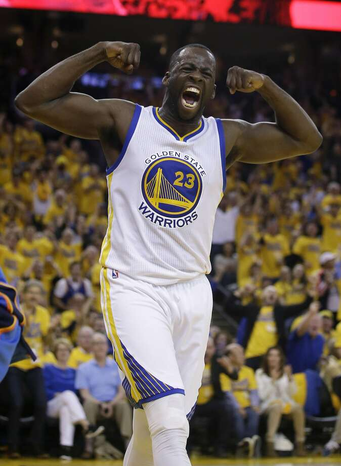 Golden State Warriors' Draymond Green (23) celebrates after scoring against the Oklahoma City Thunder during the second half in Game 5 of the NBA basketball Western Conference finals Thursday, May 26, 2016, in Oakland, Calif. Golden State won 120-111. (AP Photo/Marcio Jose Sanchez) Photo: Marcio Jose Sanchez, Associated Press