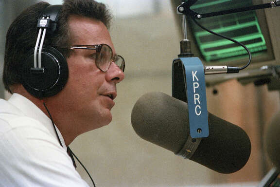 KPRC-TV personality Doug Johnson on his new radio show, May 29, 1986.