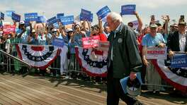 Bernie Sanders arrives at a rally at the Los Angeles Maritime Museum in Los Angeles.