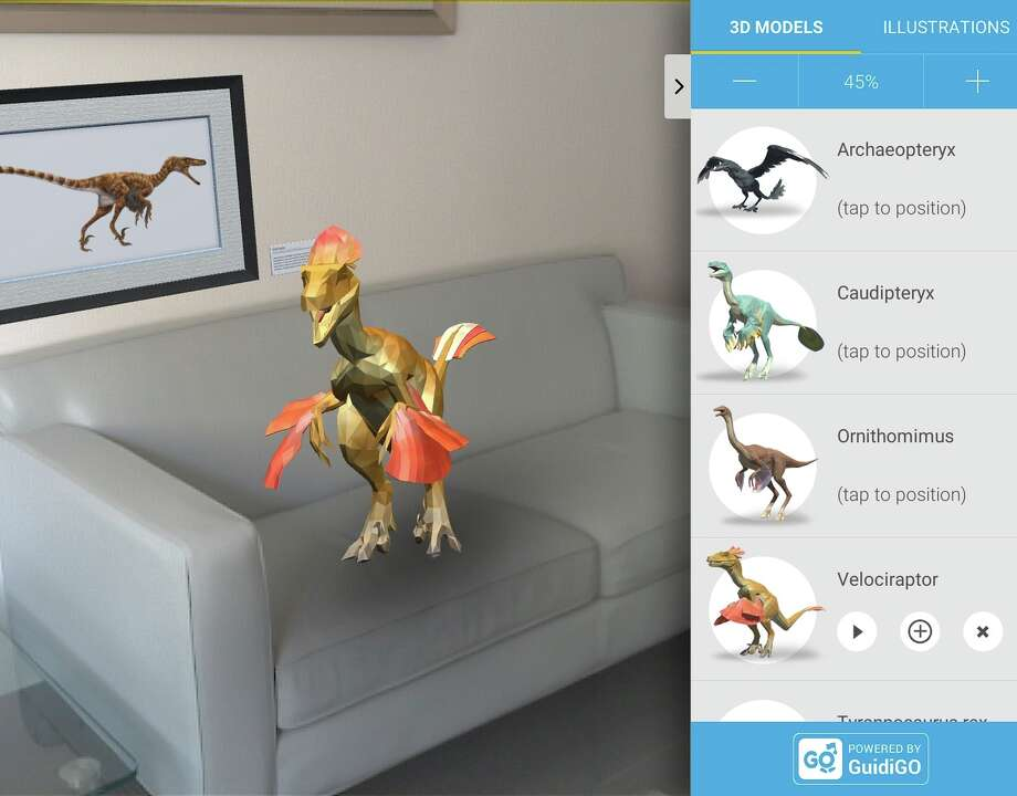 Google's Project Tango technology can place virtual images — even dinosaurs — in 3-D-mapped rooms.