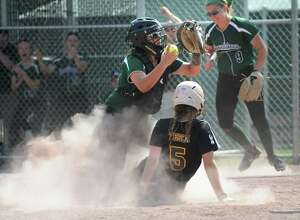 Shenendehowa's Cailey Cuttita shows the ball to the umpire and Ballston Spa's Gretchen Tesch is called out at the plate during the class AA softball final on Friday, May 27, 2016 in Malta, N.Y.  (Lori Van Buren / Times Union)