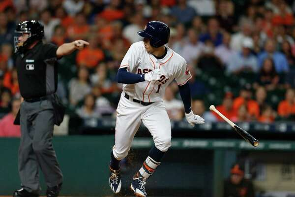 Houston Astros shortstop Carlos Correa (1) looks back as he struck out in the first inning of an MLB baseball game at Minute Maid Park,Thursday, May 26, 2016.  ( Karen Warren  / Houston Chronicle )