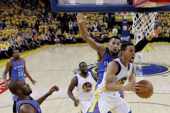 Golden State's Stephen Curry, right, says the Warriors need to bottle the joy they felt in home wins as they play the Thunder on the road Saturday.