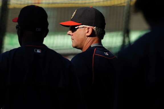 ANAHEIM, CA - MAY 27:  Manager A.J. Hinch of the Houston Astros watches his team warm up prior to a baseball game between the Los Angeles Angels of Anaheim and the Houston Astros at Angel Stadium of Anaheim on May 27, 2016 in Anaheim, California.