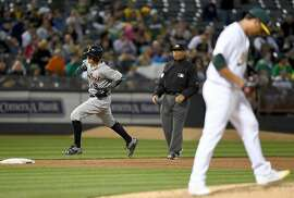 OAKLAND, CA - MAY 27:  Nick Castellanos #9 of the Detroit Tigers trots around the bases after hitting a solo home run off of Sean Manaea #55 of the Oakland Athletics in the top of the six inning at O.co Coliseum on May 27, 2016 in Oakland, California.  (Photo by Thearon W. Henderson/Getty Images)