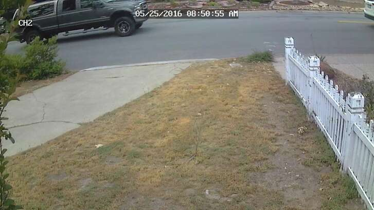 A security camera in the Saratoga neighborhood where a truck ran over two dogs Wednesday caught this image of the suspect vehicle.