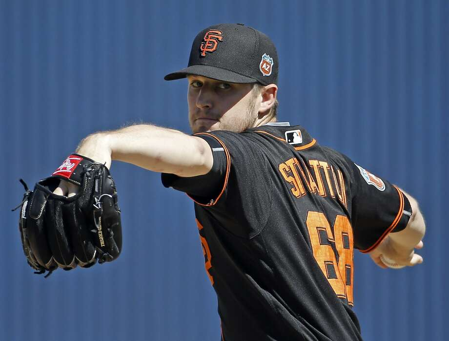 San Francisco Giants' Chris Stratton throws during the first inning of spring training baseball game against the Milwaukee Brewers Thursday, March 10, 2016, in Phoenix. (AP Photo/Morry Gash) Photo: Morry Gash, AP