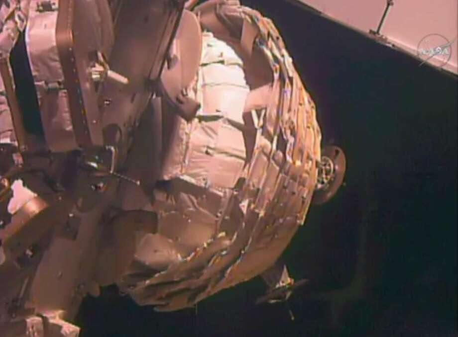 A NASA video image shows the Bigelow Expandable Activity Module being inflated. Photo: Associated Press