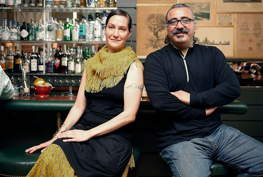 Bar manager Valen West (left) sits at the bar with chef Hoss Zare (right) at Fly Trap on Friday, May 27, 2016 in San Francisco, Calif. Photo: Liz Hafalia, The Chronicle