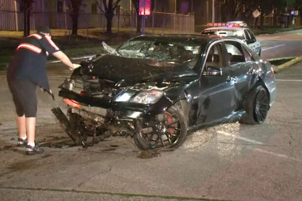 Two people were injured early Saturday when a car slammed into a tree in central Houston.